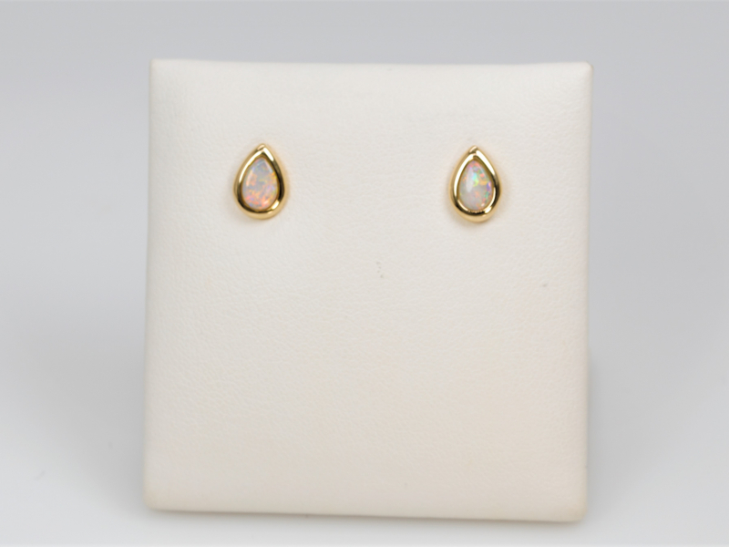 Earrings - White Opal Studs - image 2