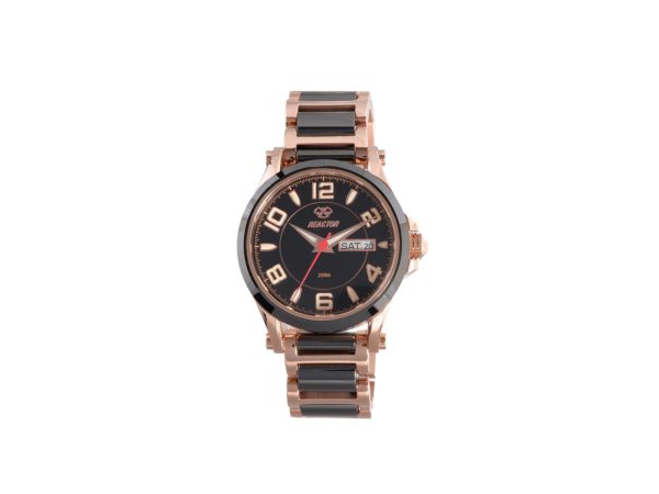 001-955-00129 - Reactor Watch - Crystal.  Black dial with rose gold-plated stainless and black ceramic