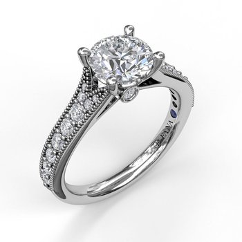 Semi-Mount Engagement Rings - 14 Karat White Gold Semi Mount Ring With 22=0.35Tw Round H SI Diamonds, One Round Sapphire in the Girdle, And One Round Cubic Zirconia