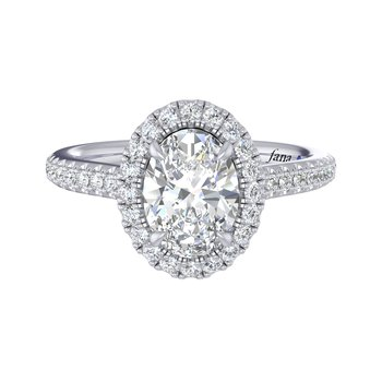 Semi-Mount Engagement Rings - 14 Karat White Gold Semi Mount Ring With 40=0.35Tw Round H SI Diamonds, One Round Sapphire in the Girdle And One Round Cubic Zirconia