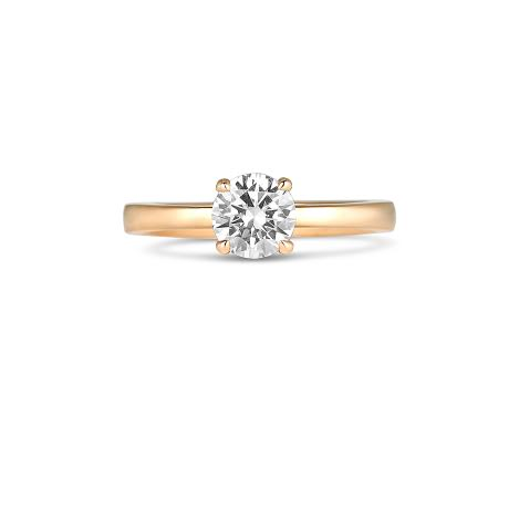 Semi-Mount Engagement Rings - 14 Karat Rosé Gold Ring With One Round Cubic Zirconium And One Round Sapphire In The Girdle