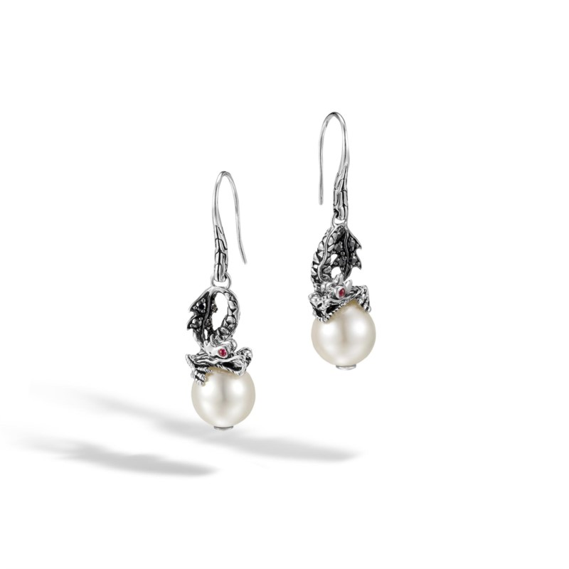Pearl Earrings - Sterling Silver And 18 Karat Yellow Gold Naga Earrings With Freshwater Pearl, Black Sapphire, And Ruby