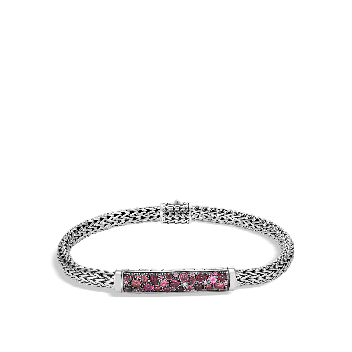 Bracelet - Sterling Silver Classic Chain Extra Small Bracelet With Round Pink Spinel, Dark Pink Tourmaline, Pink Tourmaline, And Pink Garnet, Medium