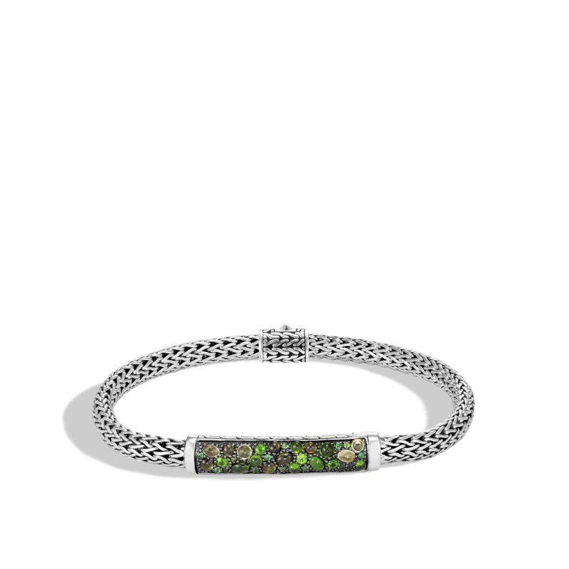 Bracelet - Sterling Silver Classic Chain Extra Small Bracelet With Round Green Tourmaline, Chrome Diopside, Peridot, And Tsavorite, Medium