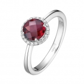 Silver Ring - Sterling Silver Halo Ring With Round Garnet And Round Cubic Zirconiums