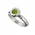 Ring - Sterling Silver Ring With One Round Peridot Size: 8