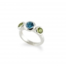 Ring - Sterling Silver Ring With One Round Blue Topaz And 2= Round Peridot Size: 7