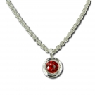 Pendant - Sterling Silver Circle Pendant With One Round Garnet