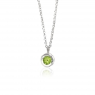 Pendant - Sterling Silver Circle Pendant With One Round Peridot