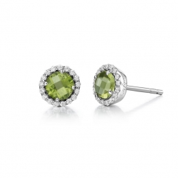 Silver Earrings - Sterling Silver Button Earrings With Round Peridot And Cubic Zirconiums