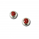 Silver Earrings - Sterling Silver Button Earrings With 2= Round Garnet