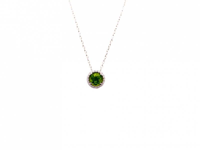 Silver Pendant - Sterling Silver Halo Pendant With Round Peridot And Round Cubic Zirconiums