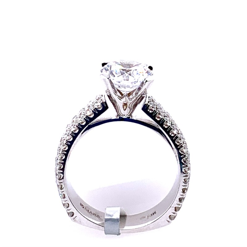 Diamond Semi-mount Rings - Wide Pave' Diamond Semi Mounting - image #3