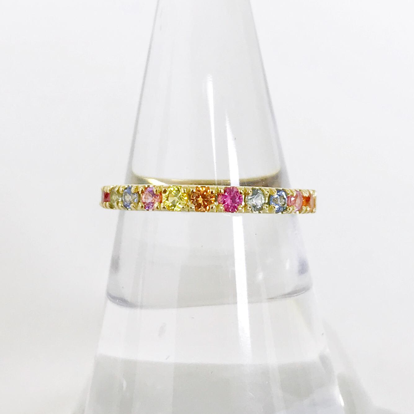 Colored Stone Rings - Rainbow Sapphire Band - image #2