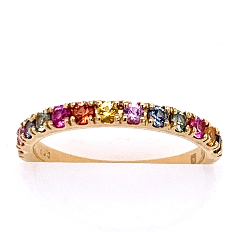 Colored Stone Rings - Rainbow Sapphire Band