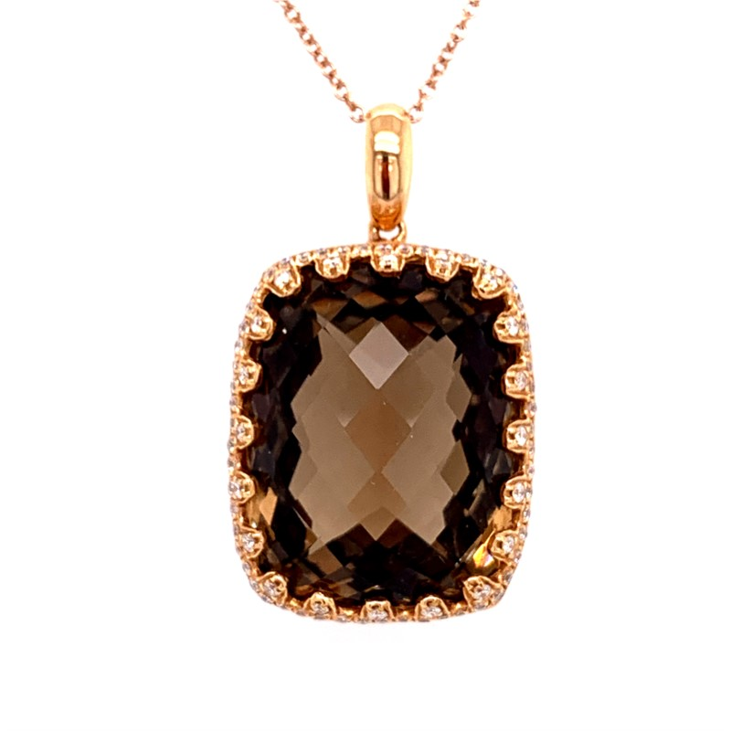 Colored Stone Pendants - 14K Rose Gold Cushion Cut Smokey Quartz and Diamond Pendant/Necklace