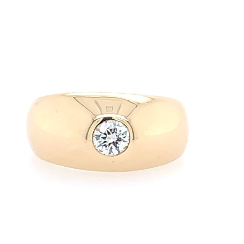 Estate Jewelry - Estate 14K Yellow Gold Solid Bezel Set Diamond Ring - image #2