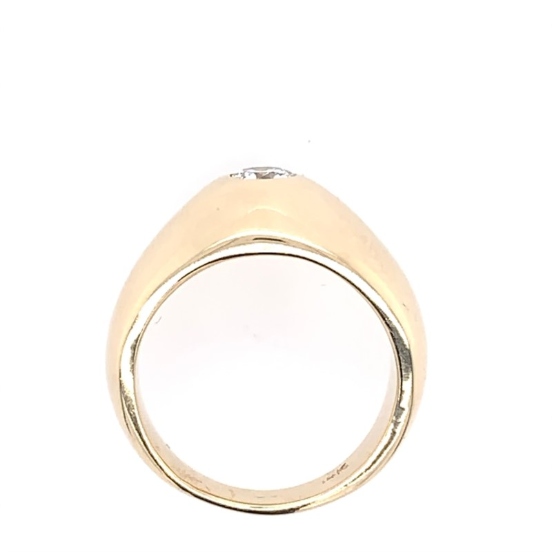 Estate Jewelry - Estate 14K Yellow Gold Solid Bezel Set Diamond Ring - image #3