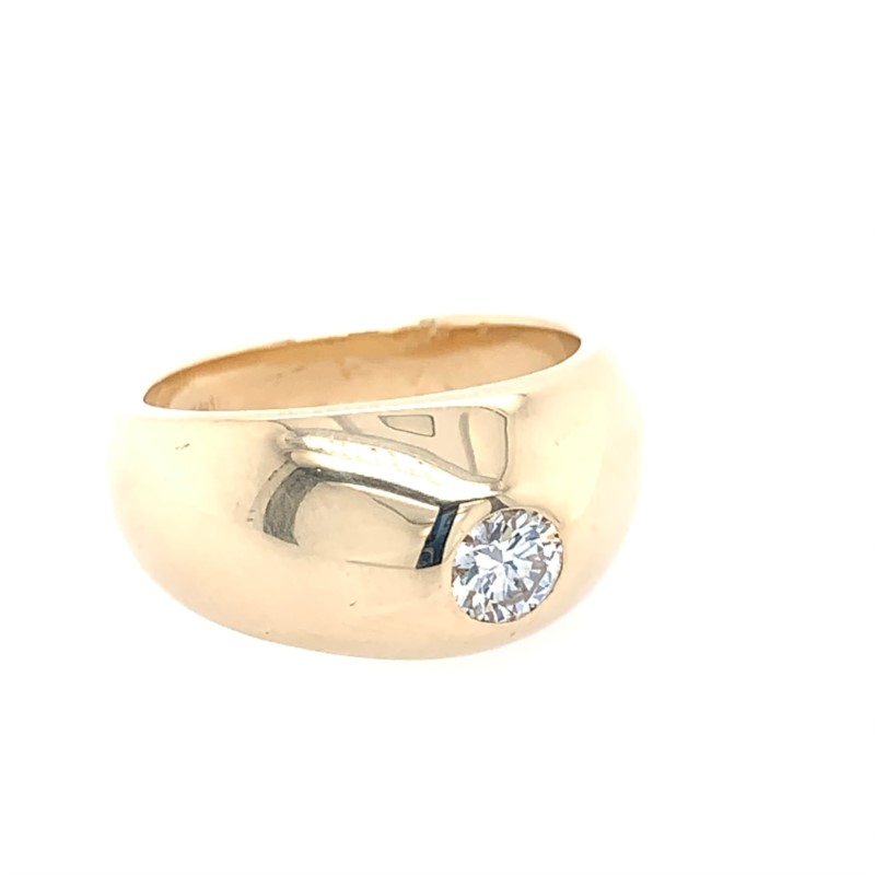 Estate Jewelry - Estate 14K Yellow Gold Solid Bezel Set Diamond Ring