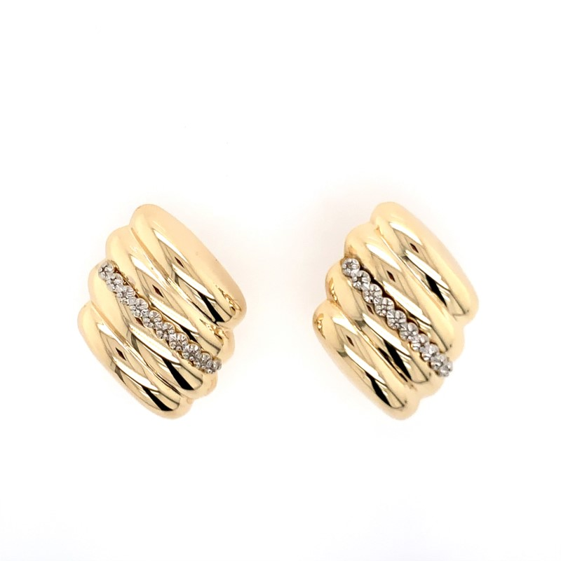 Estate Jewelry - 14K Gold and Diamond Earrings