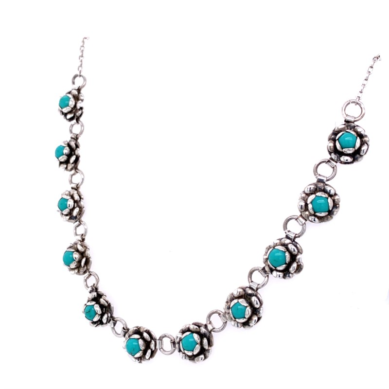 Estate Jewelry - Estate Sterling Silver Flower Turquoise Flower Necklace - image #2