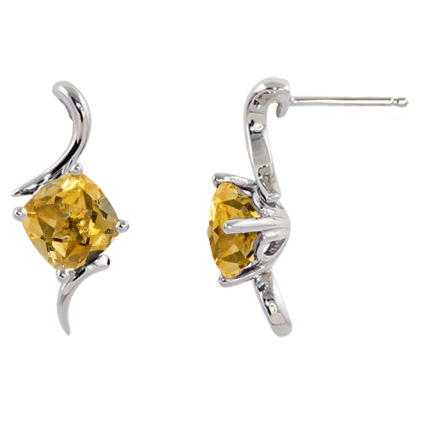 Citrine Earrings - Citrine 14K White Gold Earring