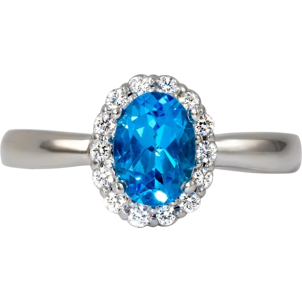 Colored Gemstone Rings - Blue Toapaz and Diamond 1/7 tw - image #2