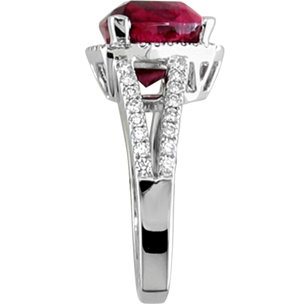 Colored Gemstone Rings - Rubelite and Diamond - image #2