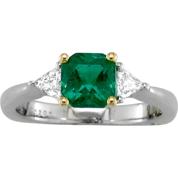 Emerald and Diamond - 18K White Gold / 18K Yellow Gold Trim Emerald 1.10Ct and Diamond .26Tw