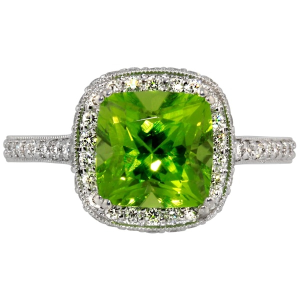 Pearl and Diamond - 14K White Gold Peridot 2.75 Ct and Diamond .50 Tw