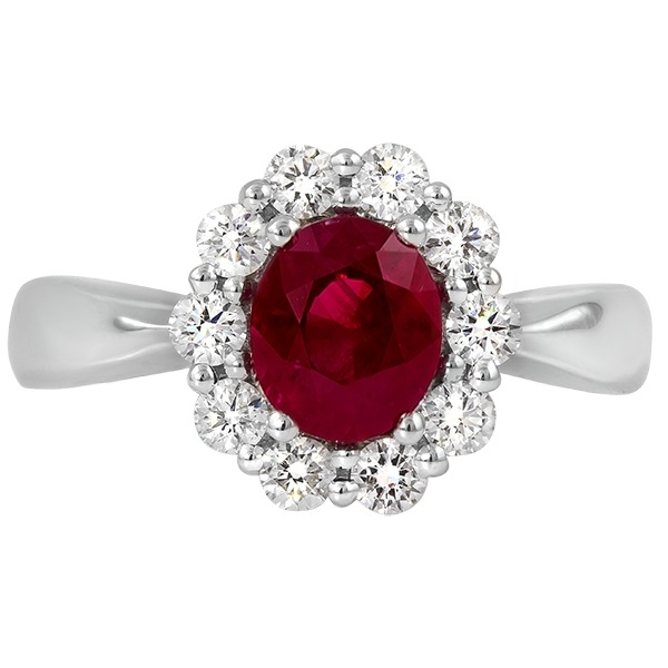 Ruby and Diamond - 18K White Gold Ruby 1.14 Ct and Diamond .49 Tw