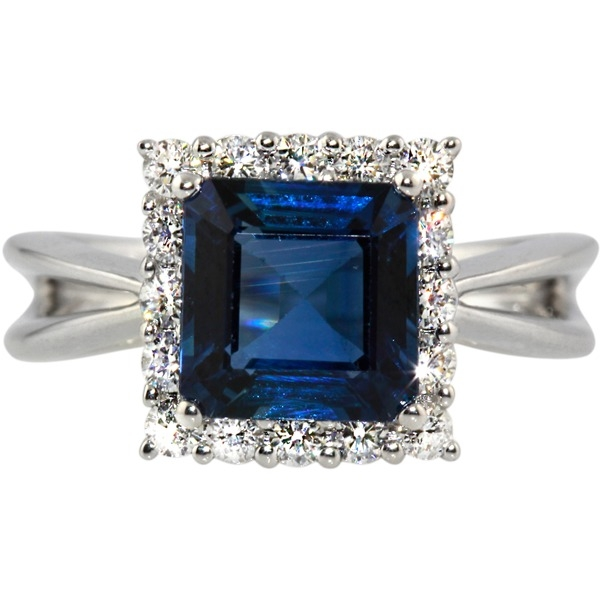 Sapphire and Diamond - 18K White Gold Sapphire 2.88 and Diamond .47 Tw