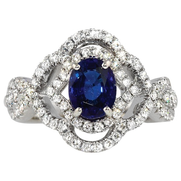 Sapphire and Diamond - 14K White Gold Sapphire 1.32 Ct and Diamond 5/8 Tw