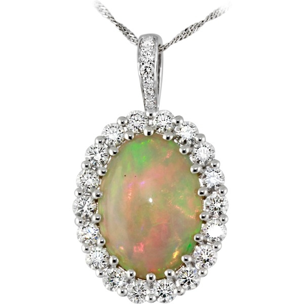 Opal and Diamond - 18K White Gold Etheopian Opal 4.83Ct and Diamond 1.53Tw
