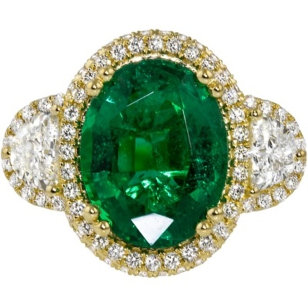 Emerald and Diamond - 18K Yellow Gold Emerald 4.49 Ct and Diamond 1.44 Tw