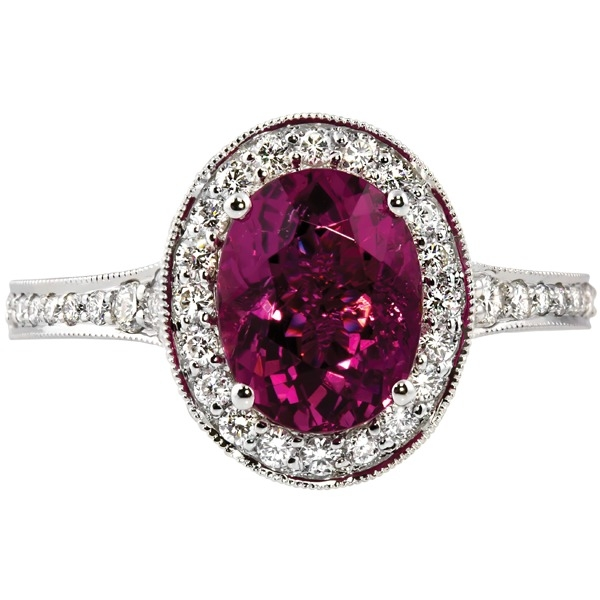 Colored Gemstone Rings - Pink Tourmaline and Diamond