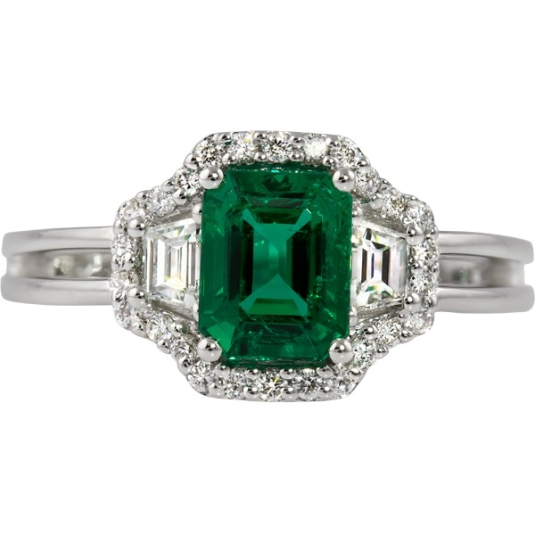 Emerald and Diamond - 18K White Gold Emerald 1.10 Ct and Diamond .38 Tw