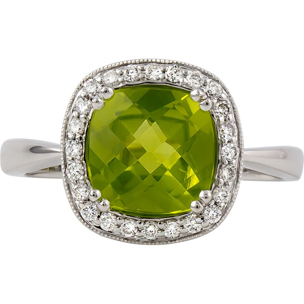 Colored Gemstone Rings - Peridot and Diamond Ring