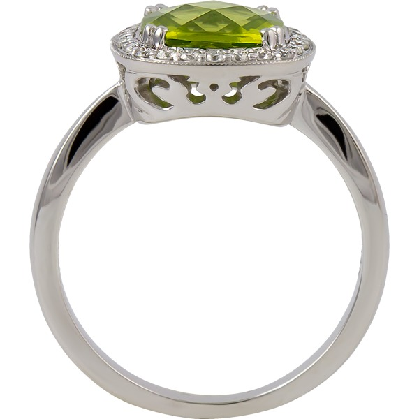 Colored Gemstone Rings - Peridot and Diamond Ring - image #2