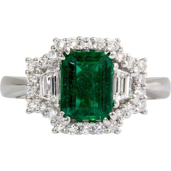 Colored Gemstone Rings - Emerald and Diamond Ring