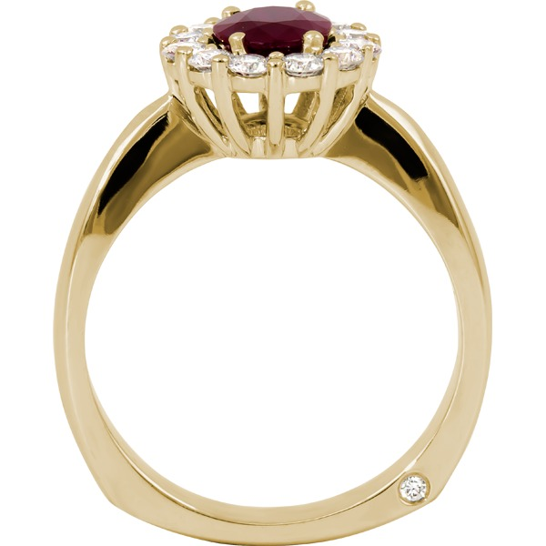 Colored Gemstone Rings - Ruby and Diamond Ring - image #2