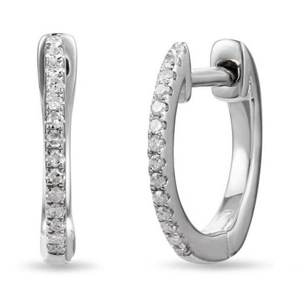 Diamond Hoop Earrings - 14k white gold .09ct total weight diamond hoop earrings.