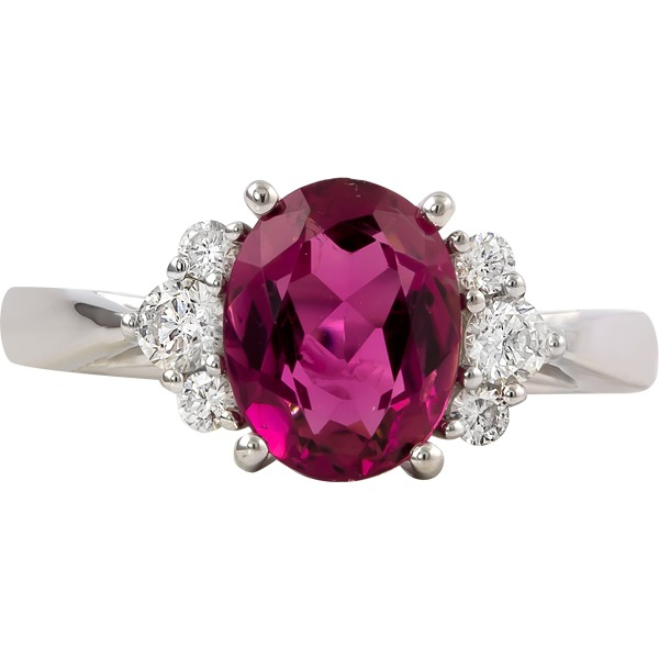 Colored Gemstone Rings - Pink Tourmaline and Diamond Ring