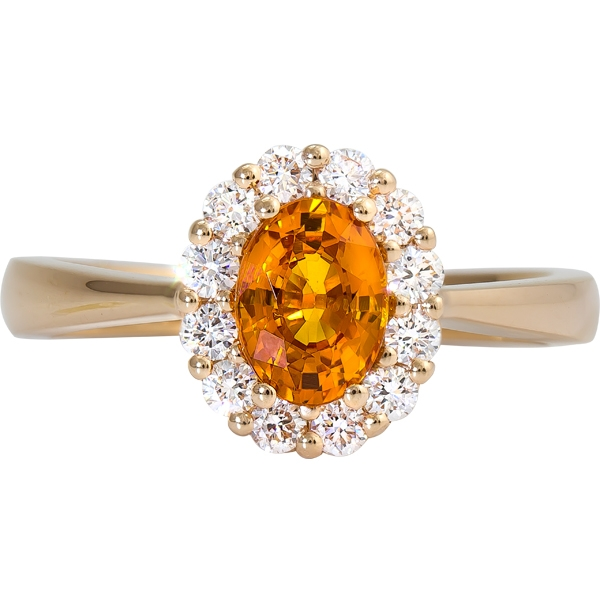 Colored Gemstone Rings - Orange Sapphire and Diamond Ring