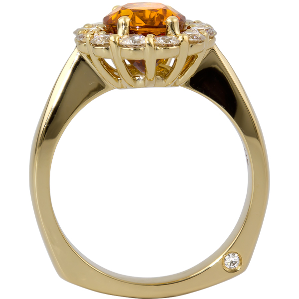 Colored Gemstone Rings - Orange Sapphire and Diamond Ring - image #2