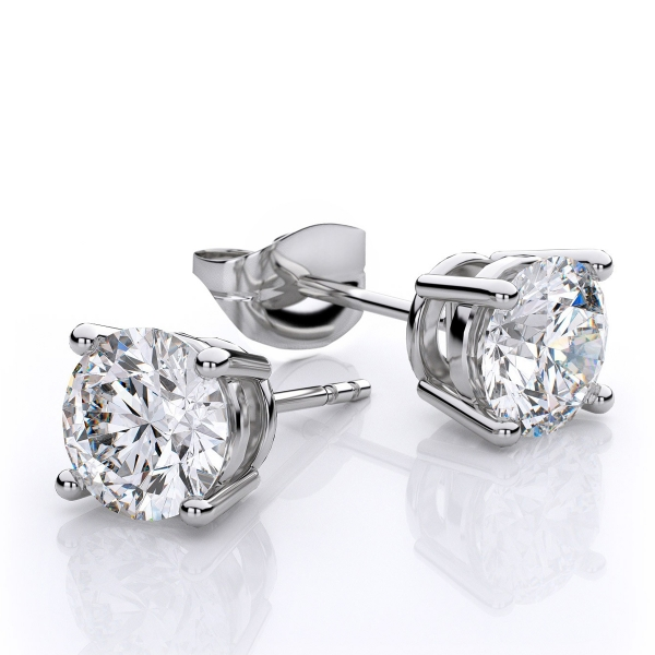 Diamond Earrings - Diamond Solitaire Earrings - image #2